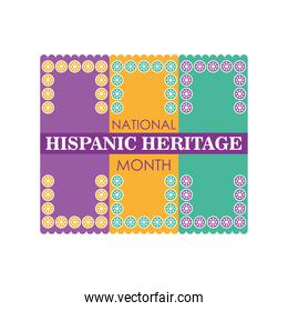 national hispanic heritage month with flowers frame vector design