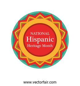national hispanic heritage month in seal stamp vector design