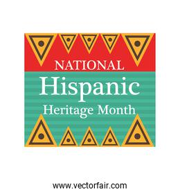 national hispanic heritage month with triangles vector design