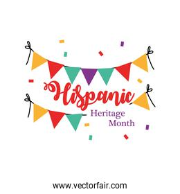 national hispanic heritage month with banner pennant vector design