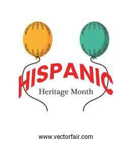 national hispanic heritage month with balloons vector design
