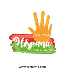 national hispanic heritage month with hand vector design