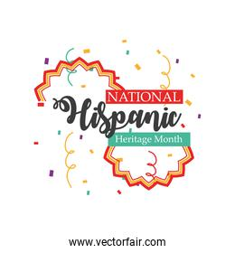 national hispanic heritage month with confetti vector design