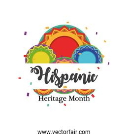 national hispanic heritage month with circles vector design