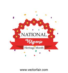 national hispanic heritage month with flowers arch and ribbon vector design