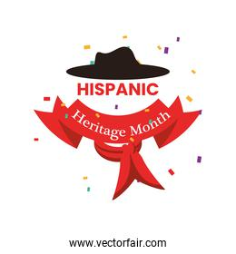 national hispanic heritage month with ribbon and hat vector design
