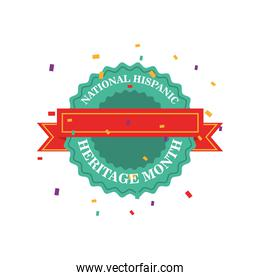 national hispanic heritage month in seal stamp with ribbon vector design