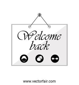 wemcome back in banner detailed style icon vector design