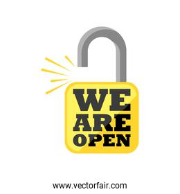 we are open in padlock detailed style icon vector design
