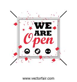 we are open in square detailed style icon vector design