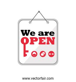 we are open in banner detailed style icon vector design