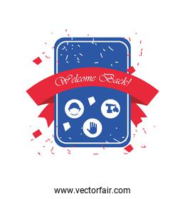 welcome back in ribbon on banner detailed style icon vector design