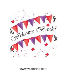 welcome back wth banner pennant detailed style icon vector design