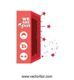 we are open in red box detailed style icon vector design