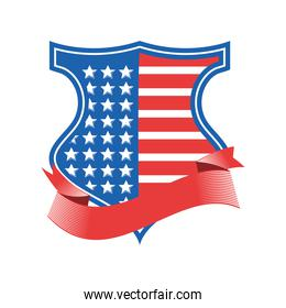 usa flag shield with ribbon detailed style icon vector design