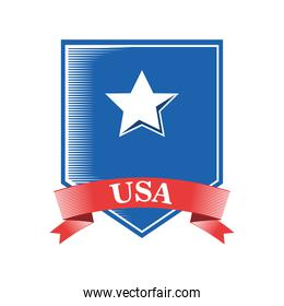 usa shield with ribbon and star detailed style icon vector design