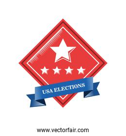usa elections in frame with stars and ribbon detailed style icon vector design
