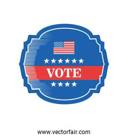 usa vote frame with flag detailed style icon vector design
