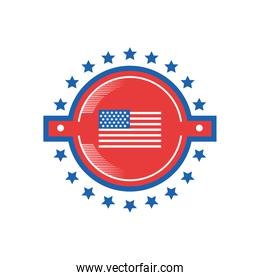 usa flag in seal stamp detailed style icon vector design