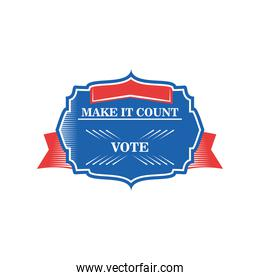 usa elections make it count in frame with ribbon detailed style icon vector design