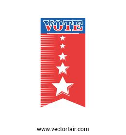 usa vote banner with stars detailed style icon vector design