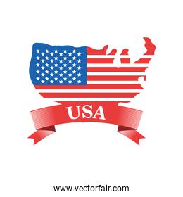 usa flag map with ribbon detailed style icon vector design