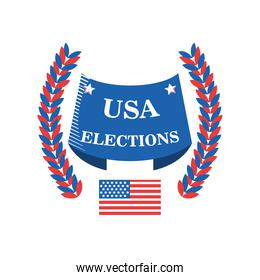 usa elections in banner with wreath detailed style icon vector design