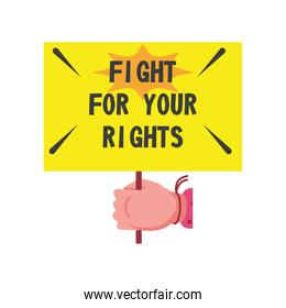 feminism hand holding fight for your rights bannerdetailed style icon vector design