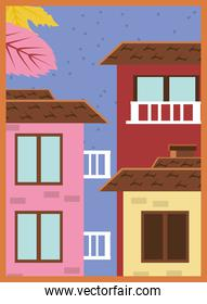 Autumn landscape with houses and leaves banner detailed style icon vector design