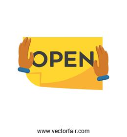 hands holding paper with open text detailed style icon vector design