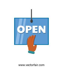 hand with open door advertising sign detailed style icon vector design
