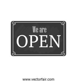 we are open in frame detailed style icon vector design
