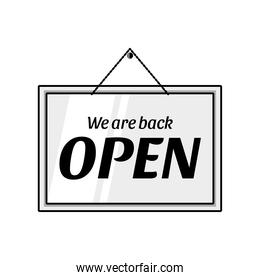 we are back open door advertising sign detailed style icon vector design