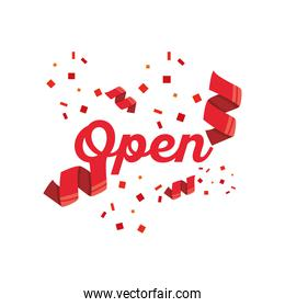 open with confetti detailed style icon vector design