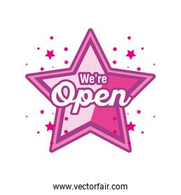 we are open in star detailed style icon vector design