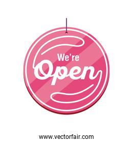 we are open in pink label detailed style icon vector design