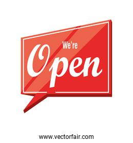 we are open in bubble detailed style icon vector design