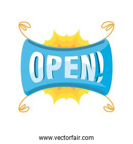 open in blue ribbon detailed style icon vector design