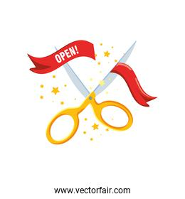 scissor cutting open in ribbon detailed style icon vector design