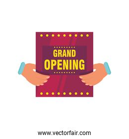 hands holding grand opening advertising detailed style icon vector design
