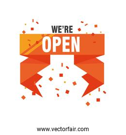 we are open in ribbon detailed style icon vector design