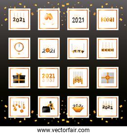 2021 happy new year detailed style icons collection vector design