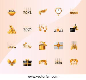 2021 happy new year detailed style bundle of icons vector design