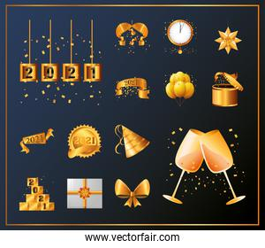 2021 happy new year detailed style icons bundle vector design