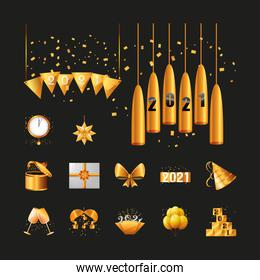 2021 happy new year detailed style symbols set vector design