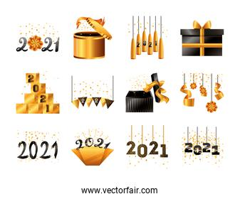 2021 happy new year detailed style set icons vector design