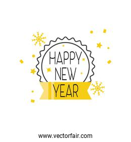 Happy new year seal stamp with ribbon detailed style icon vector design