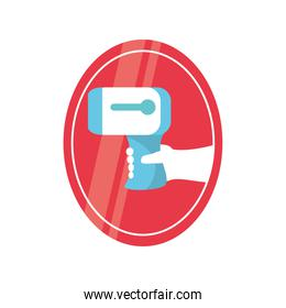 hand holding electronic thermometer in warning sign detailed style icon vector design