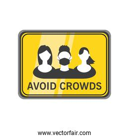 avoid crowds warning sign detailed style icon vector design