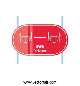 safe distance in restaurant road sign detailed style icon vector design